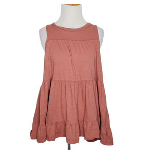 by Anthropologie Punch Pink Ruffle Tank Tiered S